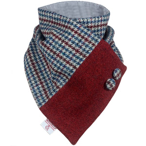 Harris Tweed Grey, Wine & Blue Houndstooth Neck Warmer Scarf