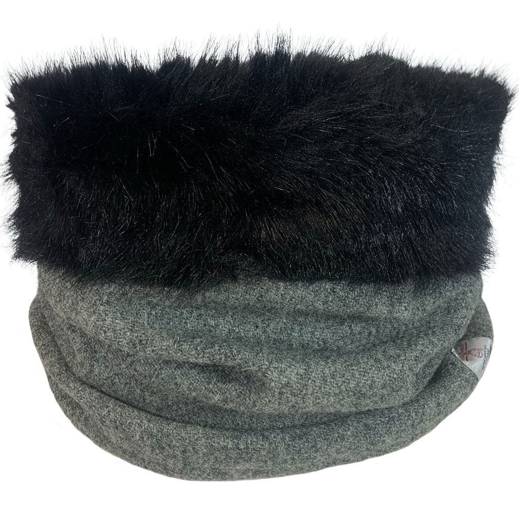 Harris Tweed Grey Marl Cowl with Black Luxury Faux fur Trim