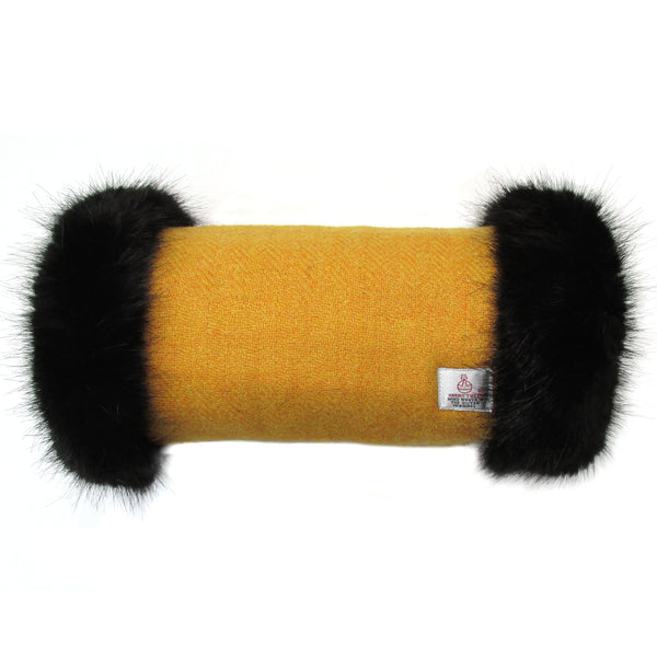 Harris Tweed Mustard Hand Muff with Black Fur