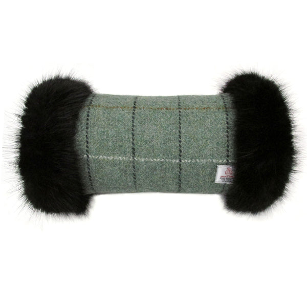 Harris Tweed Sage Green Hand Muff with Black Fur