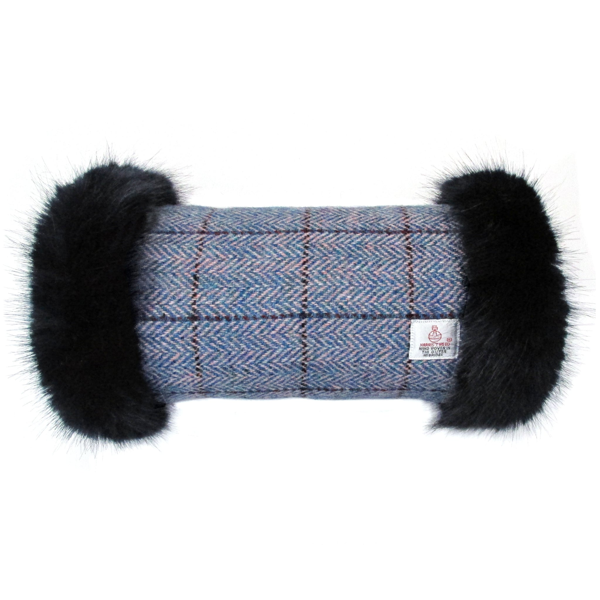 Harris Tweed Blue & Pink Herringbone Hand Muff with Navy Faux Fur