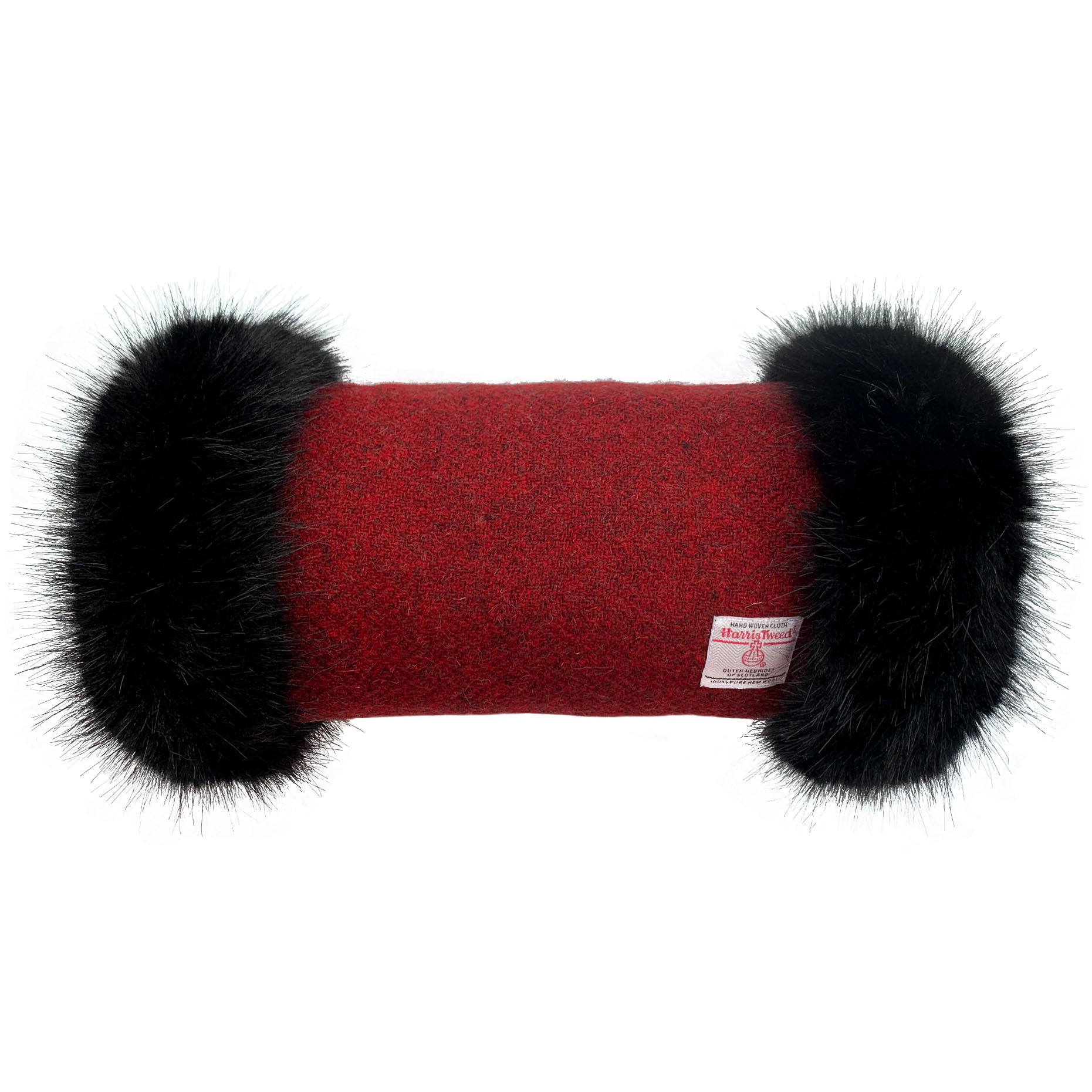 Harris Tweed Wine Red Hand Muff with Black Faux Fur