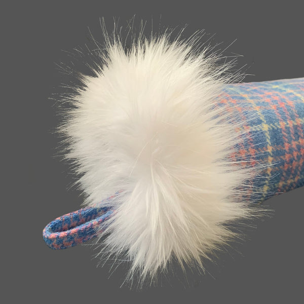 Harris Tweed Blue Pink & White Tartan Check Hand Muff with Ice White Fur