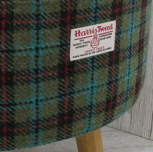 Harris Tweed Lovat Turquoise & Red Check Footstool