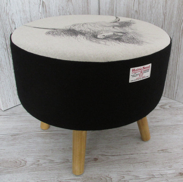 Harris Tweed Jet Black Highland Cow Top Footstool