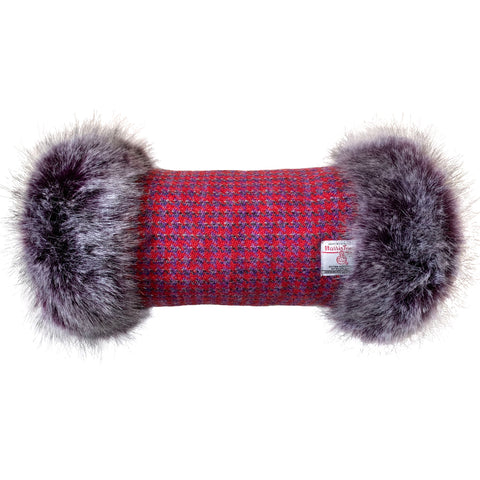 Harris Tweed Red & Purple Houndstooth Hand Muff with Multi Tone Purple Fur