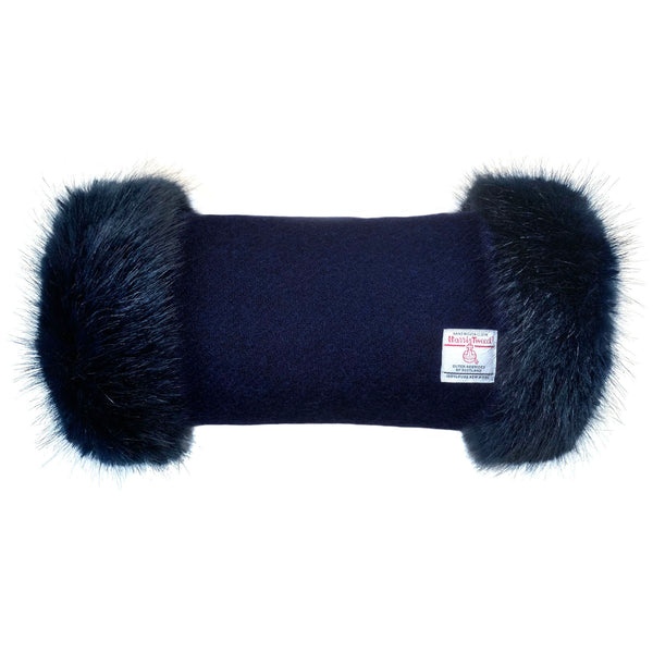 Harris Tweed Navy Blue Hand Muff with Navy Faux Fur