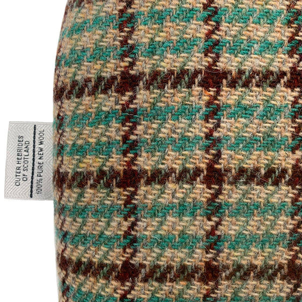 Harris Tweed Fawn with Green & Brown Check Tea Cosy