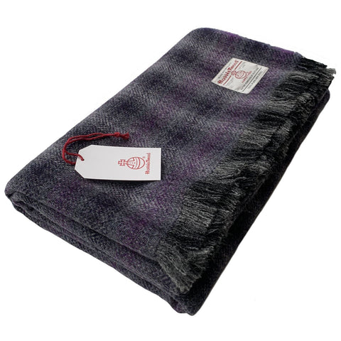 Harris Tweed Extra Large Grey & Purple Tartan Check Throw