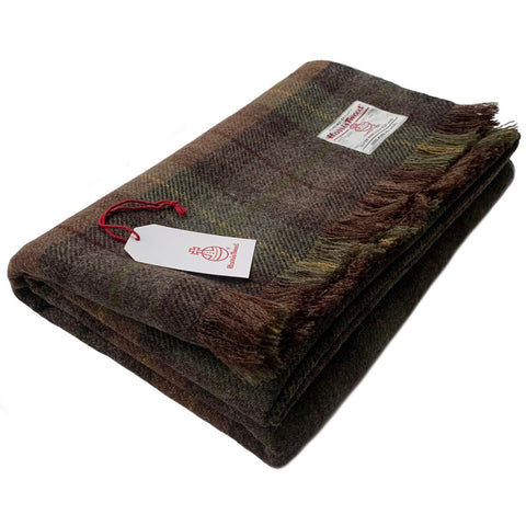 Harris Tweed Extra Large Brown & Green Tartan Throw