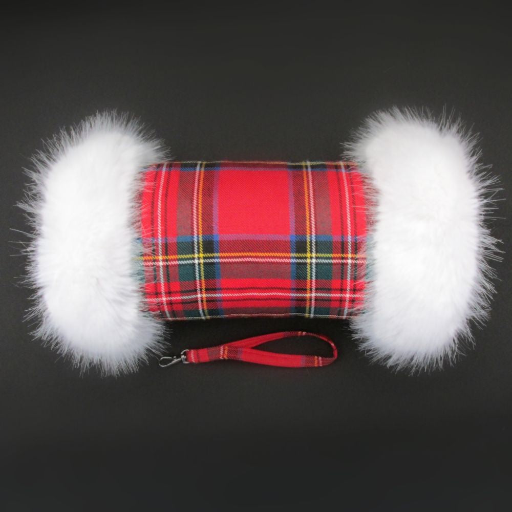Royal Stewart Wool Tartan Hand Muff with Ivory Faux Fur Trim