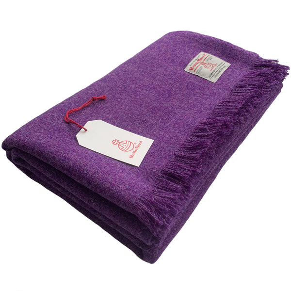 Harris Tweed Extra Large Rich Purple Throw