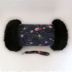 Blue & Pink Paisley Hand Muff with Black Fur