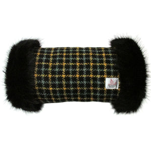 Harris Tweed Sage & Mustard Check Hand Muff with Black Fur
