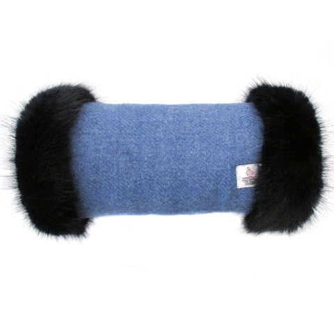 Harris Tweed Denim Blue Hand Muff with Navy Fur