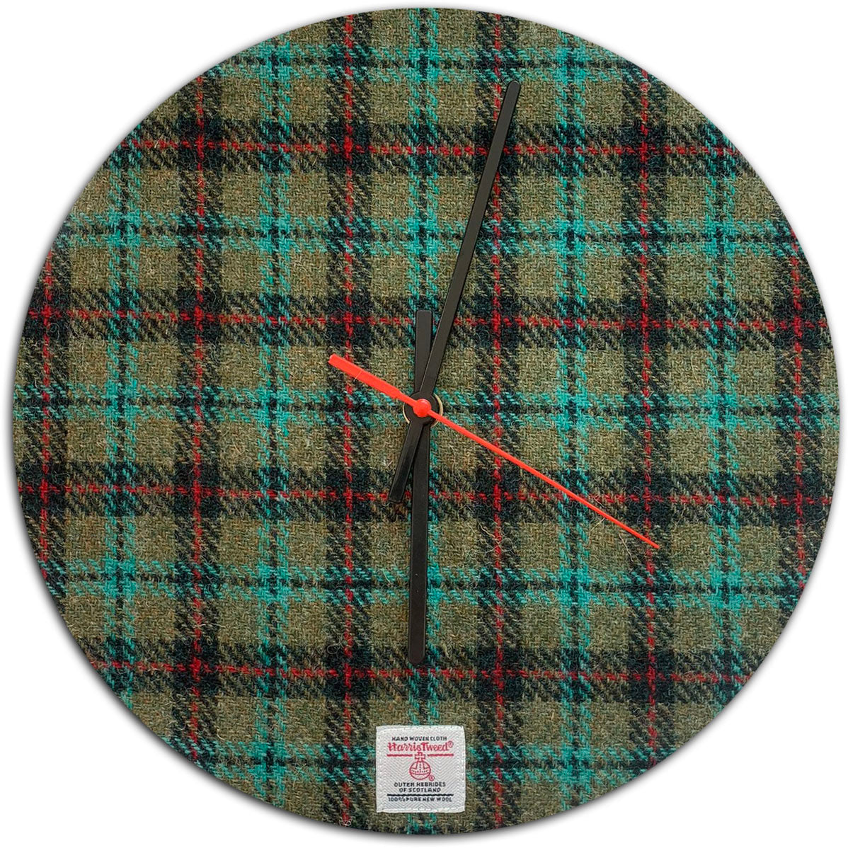 Harris Tweed Lovat Red & Turquoise Tartan Check Large Wall Clock
