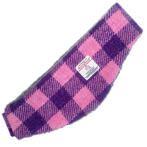 Harris Tweed Pink & Purple Check Ear Warmer
