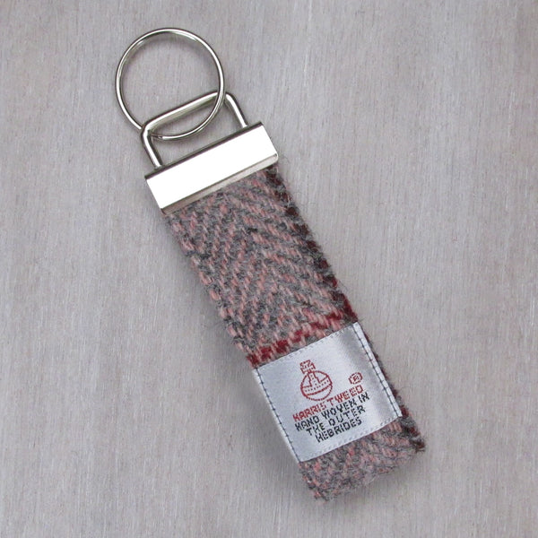 Harris Tweed Pink & Grey Herringbone Keyring