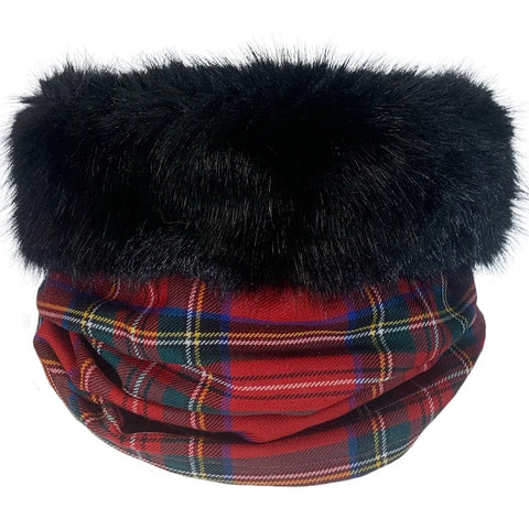 Royal Stewart Tartan Black Fur Trimmed Cowl