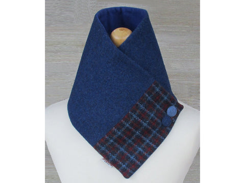 Harris Tweed Windsor Blue & Red Check Button Detail Neck Warmer