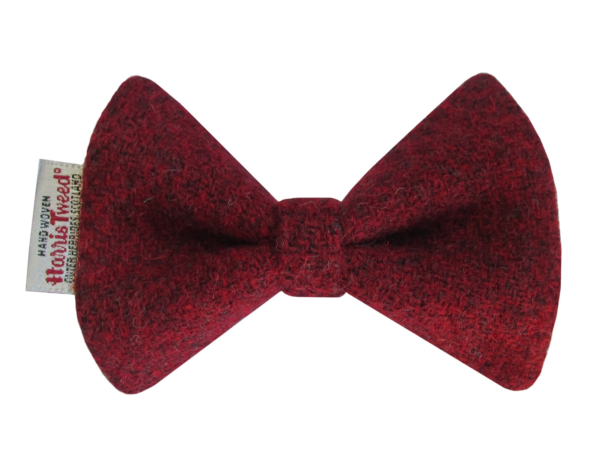 Wine Red Harris Tweed Dog Bow Tie