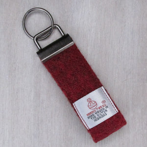 Harris Tweed Wine Red Keyring