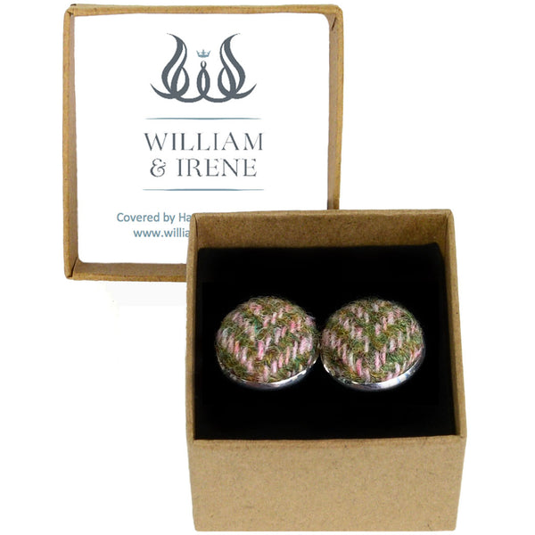 Harris Tweed Pink & Apple Herringbone Cufflinks