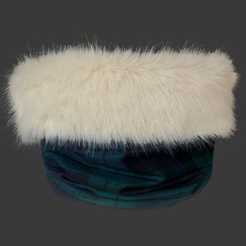 Cream Fur Trimmed Black Watch Tartan Cowl