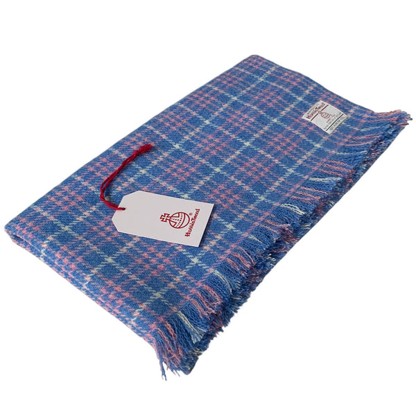Harris Tweed Blue Pink & White Tartan Check Lap Blanket