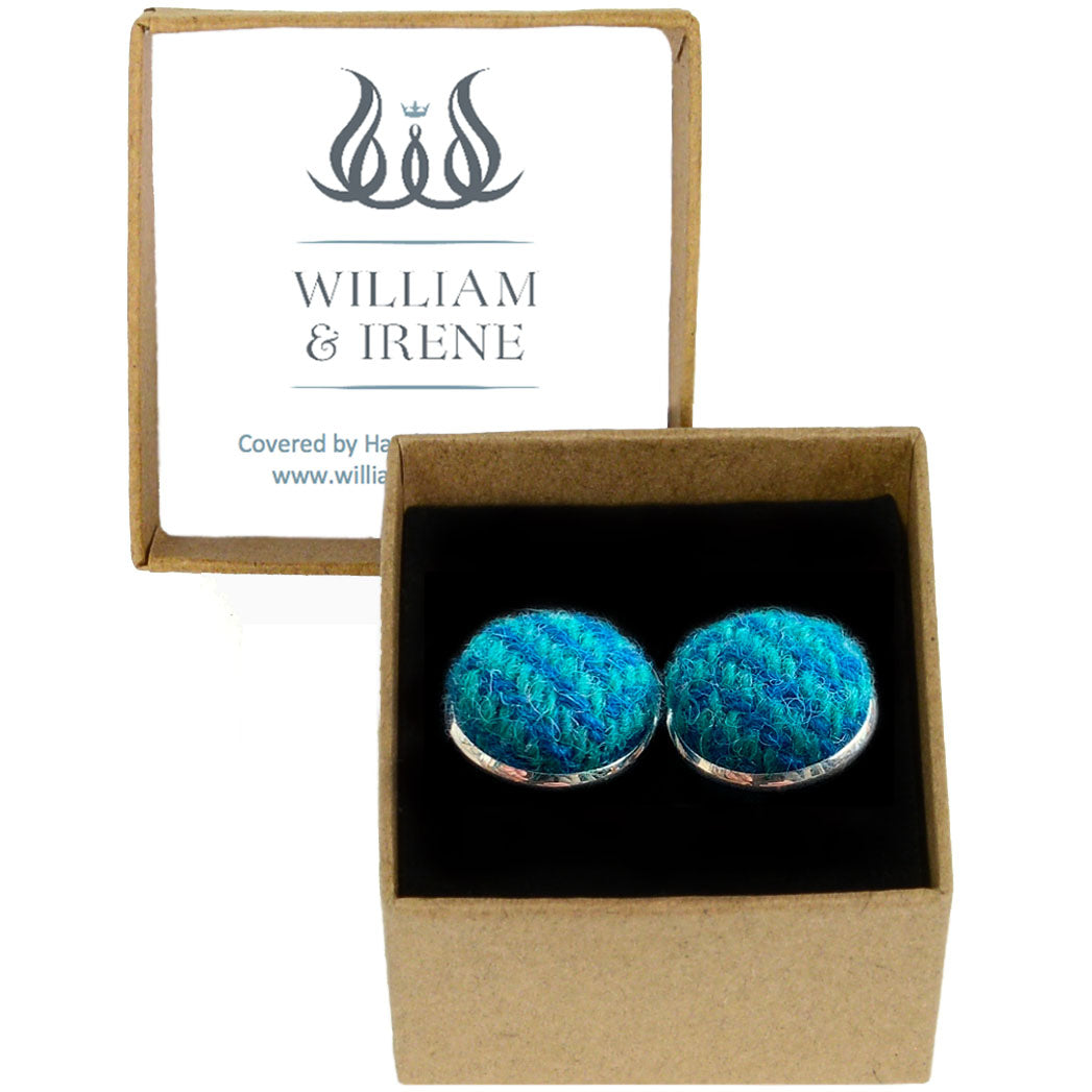 Harris Tweed Blue & Sea Green Herringbone Cufflinks