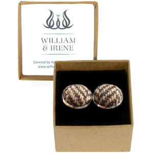 Harris Tweed Brown & Beige Herringbone Cufflinks