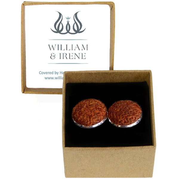 Harris Tweed Burnt Orange Cufflinks