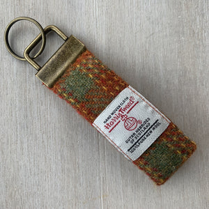 Harris Tweed Burnt Orange & Lovat Check Keyring