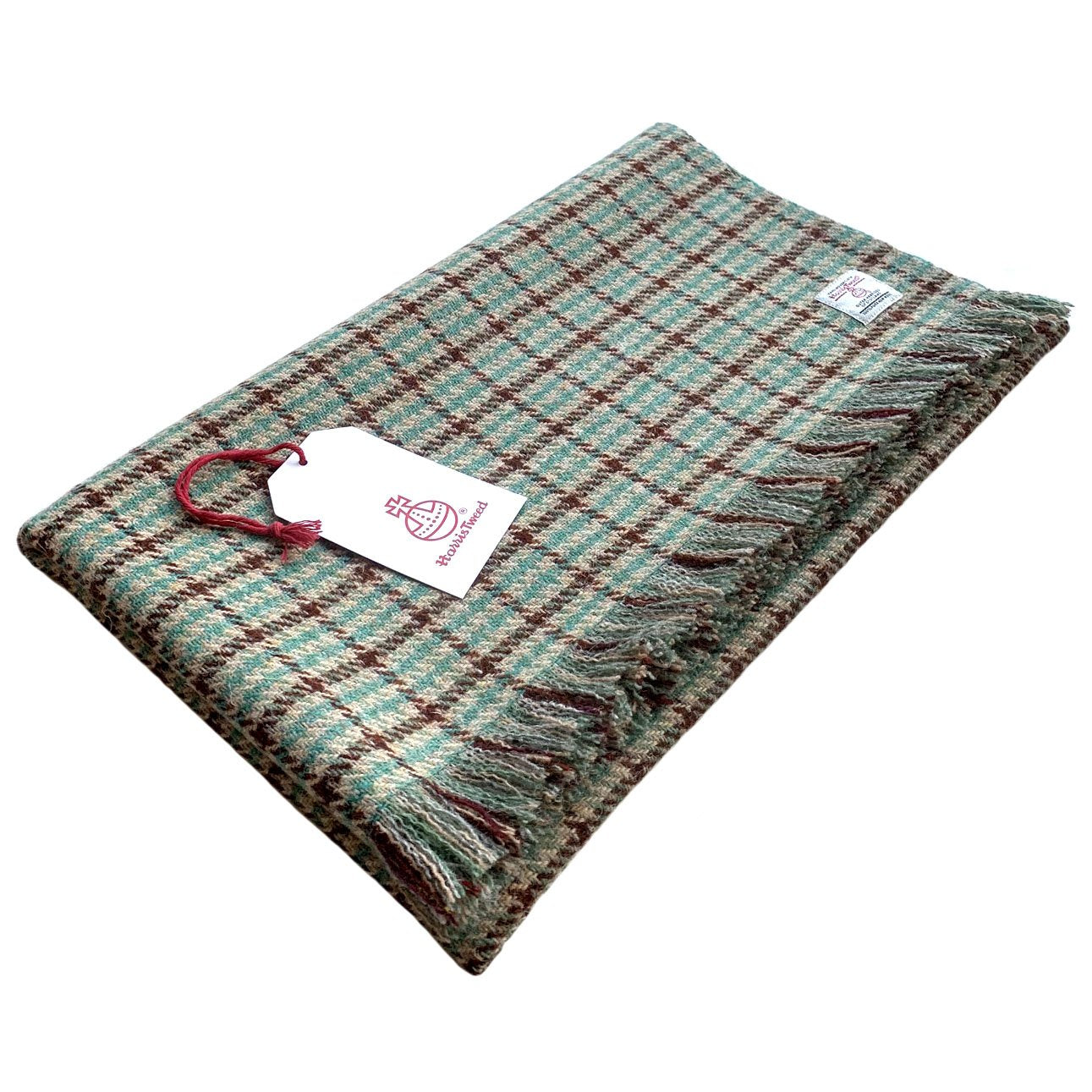 Harris Tweed Fawn with Green & Brown Check Lap Blanket