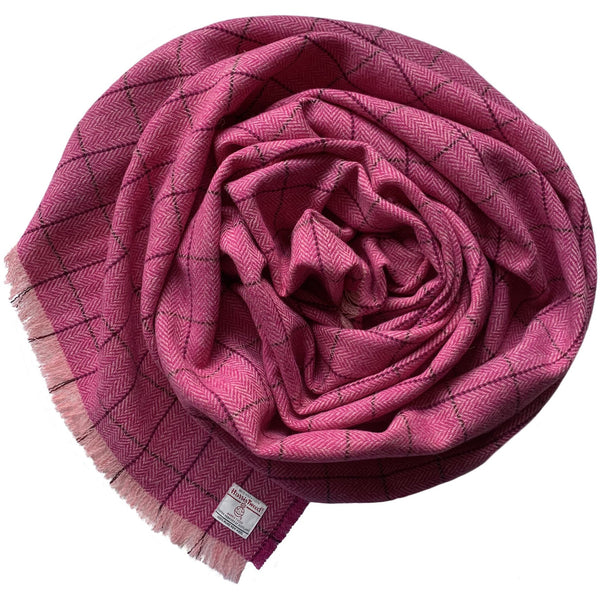 Harris Tweed Fuchsia & Baby Pink Herringbone Wrap
