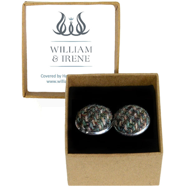 Harris Tweed Green & Fawn Herringbone Cufflinks