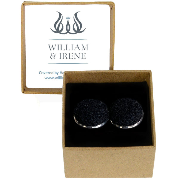 Harris Tweed Jet Black Cufflinks