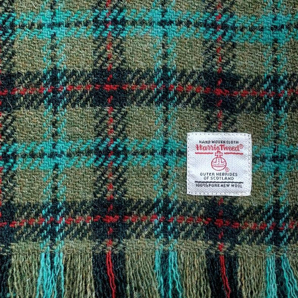 Harris Tweed Lovat & Dark Green with Turquoise & Red Check Lap Blanket