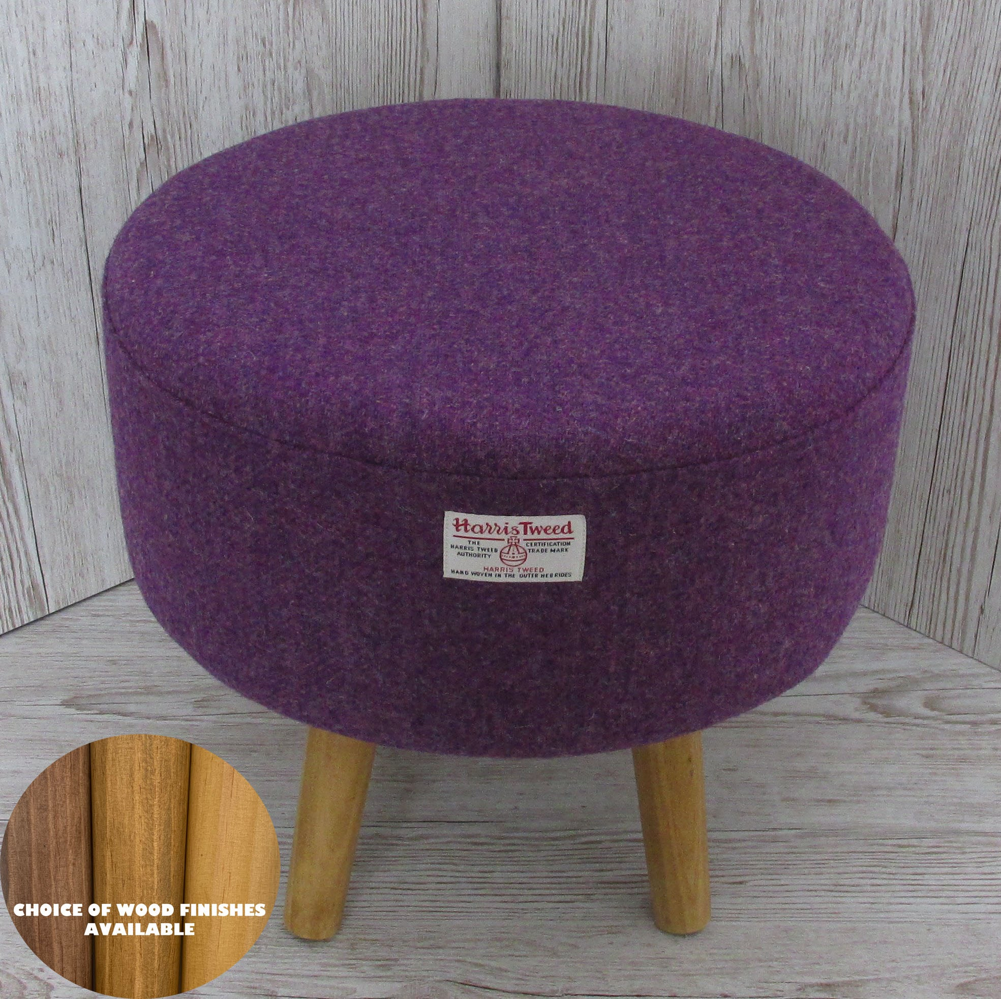 Harris Tweed Heather Purple Footstool