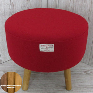 Harris Tweed Pillar Box Red Footstool