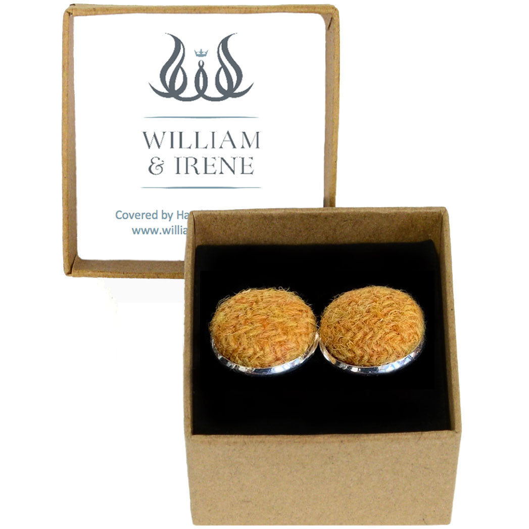 Harris Tweed Mustard Cufflinks
