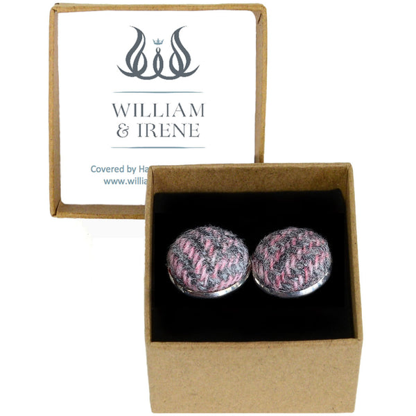 Harris Tweed Pink & Grey Herringbone Cufflinks