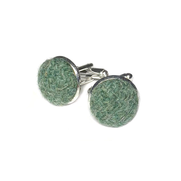 Harris Tweed Sage Green Cufflinks