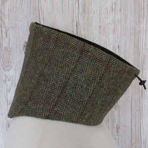 Harris Tweed Green & Fawn Herringbone Neck Warmer