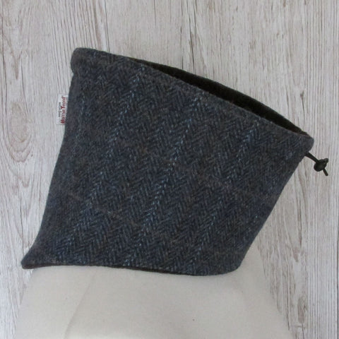 Harris Tweed Blue Herringbone Neck Warmer