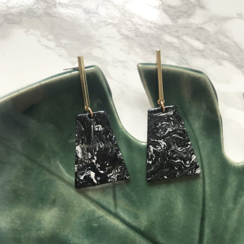 Black Marble Resin and Gold Bar Studs