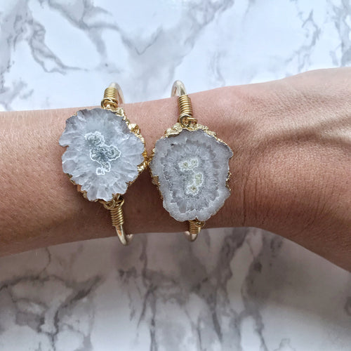 Large Solar Quartz Adjustable Cuff