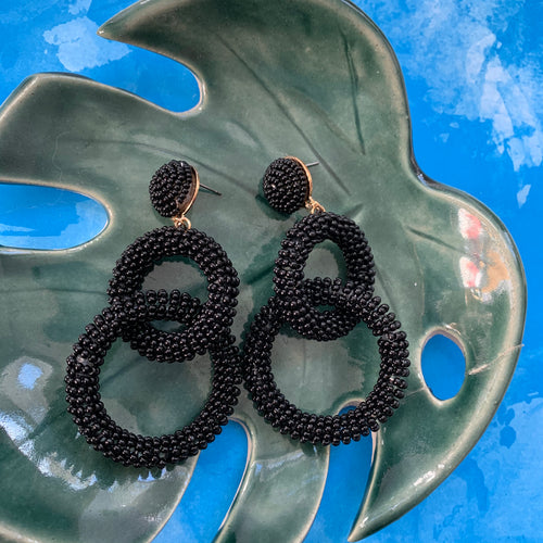 Black Chain Link Beaded Earrings