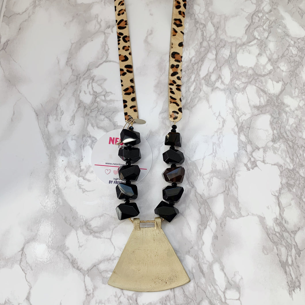 Leopard Suede Necklace