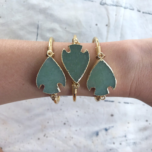 Jade Arrowhead Cuff Bangle
